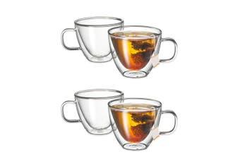 Avanti Sienna Twin Glass Wall 4pc 250ml Thermal Glasses Espresso Coffee Tea Cup