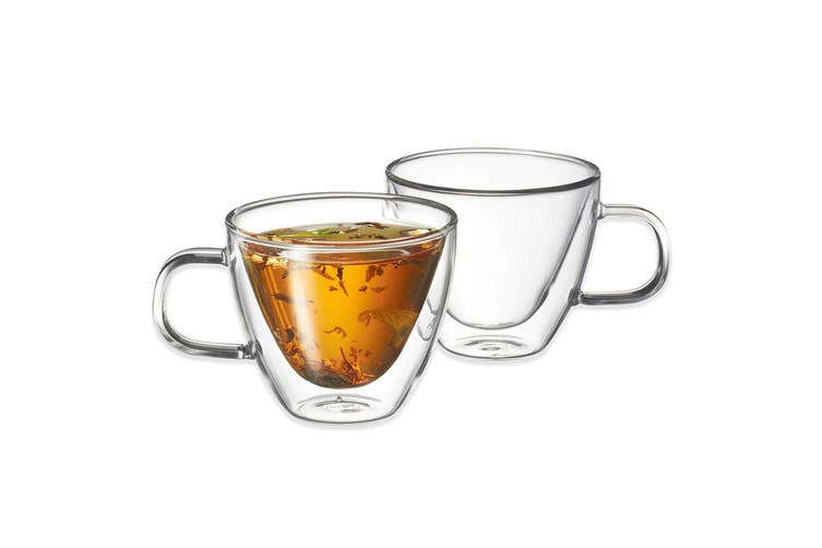 12p Avanti Sienna 150ml Twin Wall Glass Coffee Tea Thermal Glasses Mugs Hot Cold