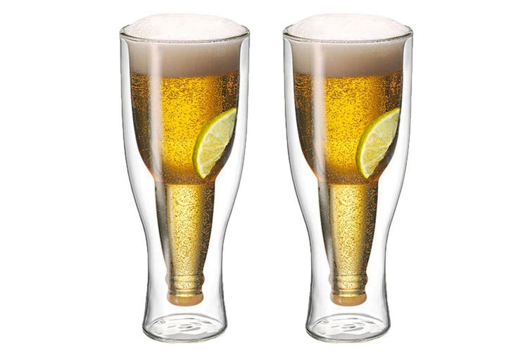 2pc Avanti Top Up Beer Glass 400ml Bar Bottle Party Drinking Insulated Gift