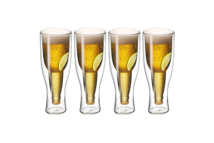 4pc Avanti Top Up Beer Glass 400ml Bar Bottle Party Drinking Insulated Gift