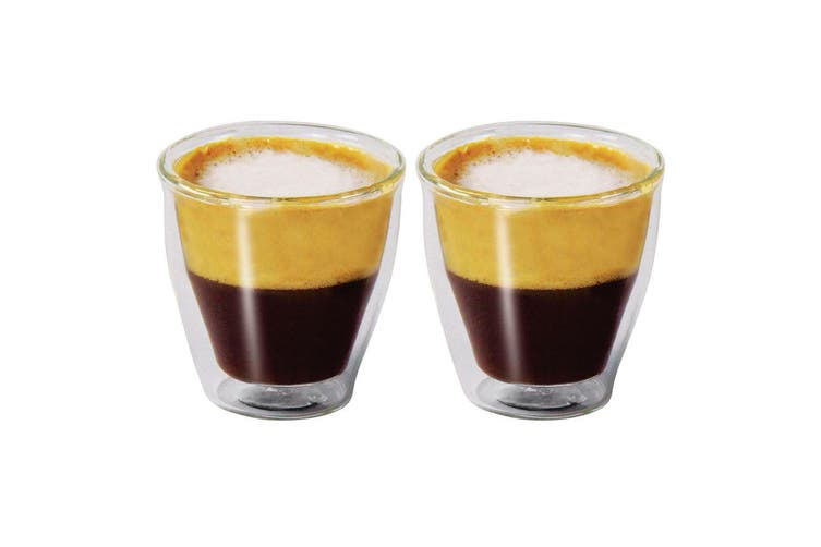 2Pc Modena Vibe Twin Wall Glass Set 100ml Coffee Thermal Glasses Expresso Cups