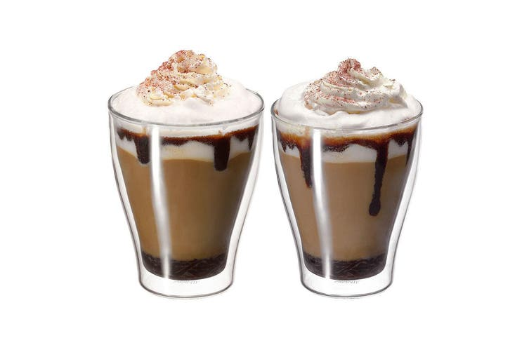 Avanti Modena 6pc 350ml Glass Set Coffee Thermal Glasses Expresso Cups Hot Cold