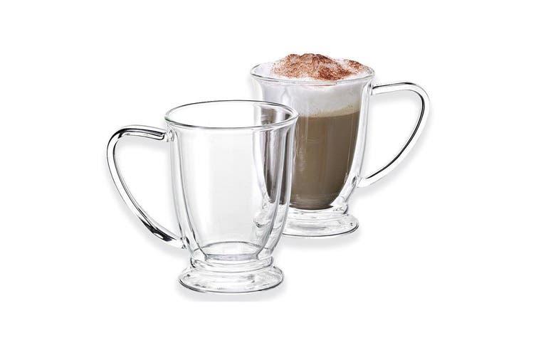 Avanti Twin Glass Wall Oko 4pc Mug 250ml Thermal Glasses Espresso Coffee Tea Cup