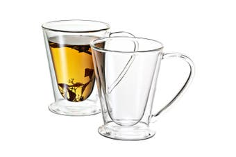 Avanti 2PC 250ml Hero Twin Wall Mug Glass Cup Tea Espresso Coffee Latte Hot Cold