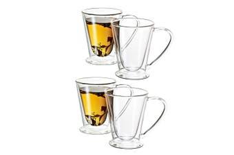 Avanti 4PC 250ml Hero Twin Wall Mug Glass Cup Tea Espresso Coffee Latte Hot Cold
