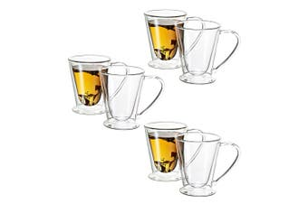 Avanti 6PC 250ml Hero Twin Wall Mug Glass Cup Tea Espresso Coffee Latte Hot Cold