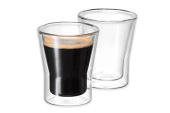 Avanti 2pc Set Uno Twin Wall Glasses 80ml Coffee Tea Cafe Chai Latte Drink Glass