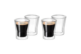 Avanti 4pc Set Uno Twin Wall Glasses 80ml Coffee Tea Cafe Chai Latte Drink