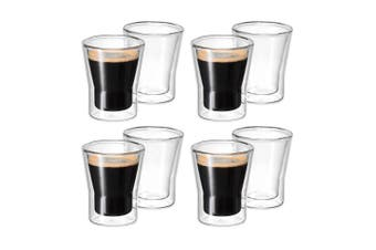 Avanti 8pc Set Uno Twin Wall Glasses 80ml Coffee Tea Cafe Chai Latte Drink