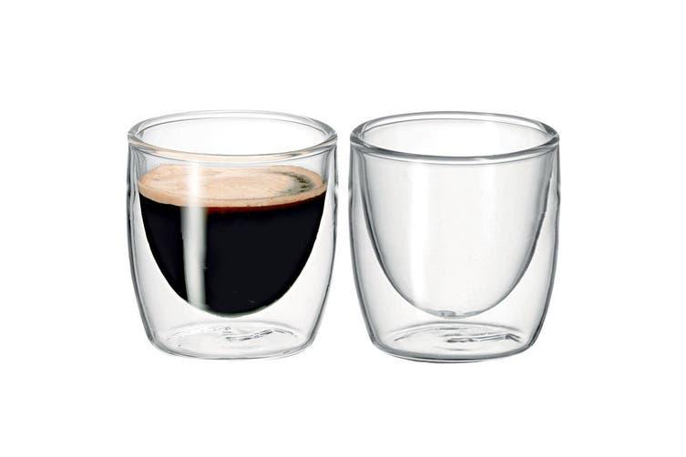 2Pc Avanti Caffe Twin Wall Glass 100ml Coffee Thermal Mug Glasses Expresso Cups