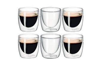6Pc Avanti Caffe Twin Wall Glass 100ml Coffee Thermal Mug Glasses Expresso Cups