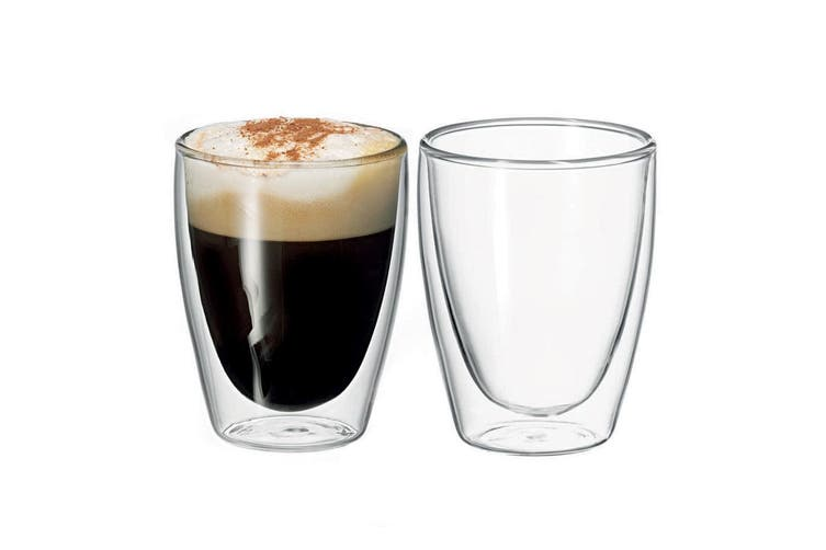 2pc Avanti Caffe 250ml Double Walled Glass Coffee Thermal Glasses Expresso Cups