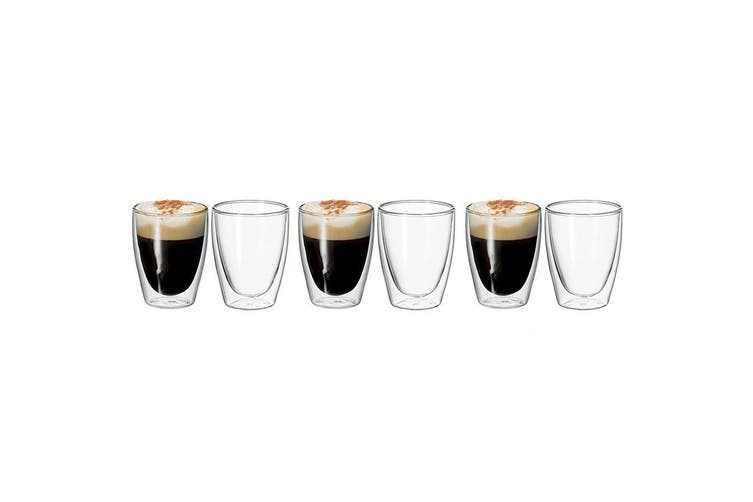 6pc Avanti Caffe 250ml Double Walled Glass Coffee Thermal Glasses Expresso Cups