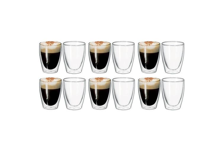 12pc Avanti Caffe 250ml Double Walled Glass Coffee Thermal Glasses Expresso Cups