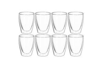 8pc Avanti Caffe Twin Wall Glass 250ml Coffee Tea Thermal Glasses Expresso Cups