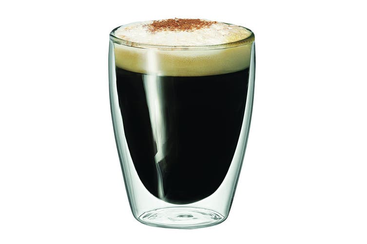 16pc Avanti Caffe Twin Wall Glass 250ml Coffee Tea Thermal Glasses Expresso Cups