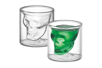 2pc Avanti Twin Wall Skull 80ml Shot Glass Set Drinkware Glassware Cup Clear