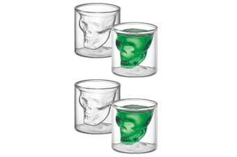4pc Avanti Twin Wall Skull 80ml Shot Glass Set Drinkware Glassware Cup Clear