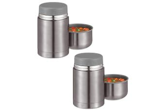 2PK Avanti 600ml Platinum Twin Wall Food Beverage Thermal Flask Stainless Steel
