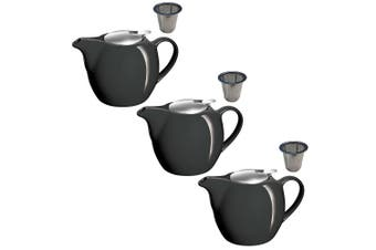 3PK Avanti Camelia Black Ceramic Teapot Stainless Steel Infuser Dishwasher 750ml
