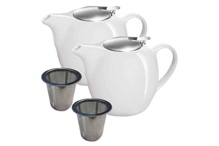 2pc Avanti Camelia White Ceramic Teapot Stainless Steel Infuser Dishwasher 750ml