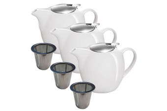 3pc Avanti Camelia White Ceramic Teapot Stainless Steel Infuser Dishwasher 750ml