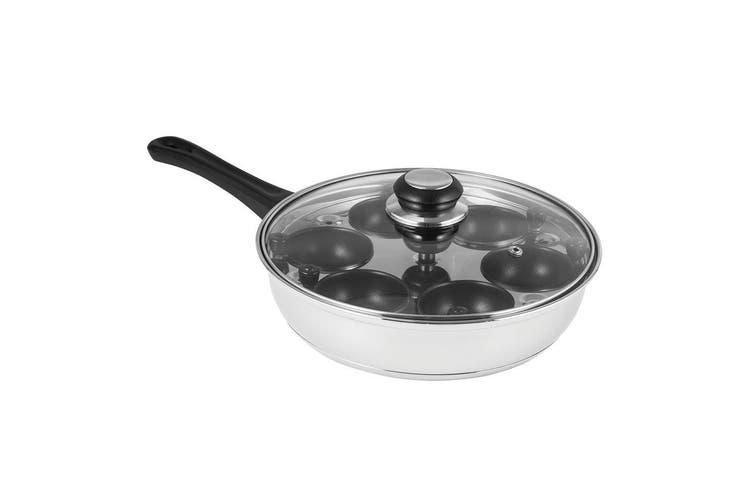 Avanti 6 Egg Poacher Maker Set 24cm Pan Non Stick Cups Tray Lid Stainless Steel