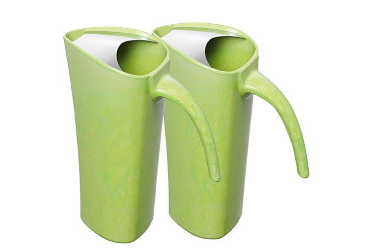 2x Avanti 1.8L Green Zute Bamboo Water Pitcher Juice Drink Serving Jug Drip Free