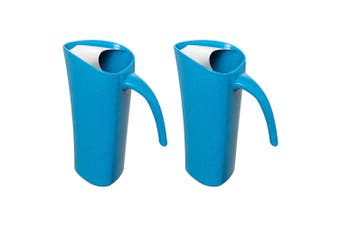 2PK Avanti 1.8L Blue Zute Bamboo Water Pitcher Juice Drink Serving Jug Drip Free