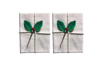 2x Avanti 60cm Christmas Traditional Pudding Calico Food Cotton Cloth Holly Leaf