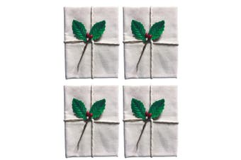 4x Avanti 60cm Christmas Traditional Pudding Calico Food Cotton Cloth Holly Leaf