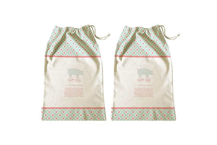 2PK Avanti 65cm Ham Bag Kitchen Storage Fresh Food Saver Drawstring Cotton Pouch