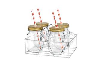 4pc Avanti Mason Jar Handle w Straw Stainless Cary Rack 400ml Vintage Mug Glass