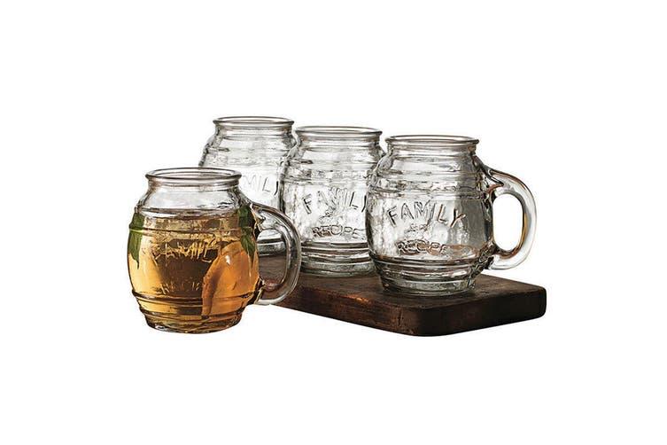 4pc Avanti 500ml Small Barrel Clear Glass Mugs Drinking Glasses Cups Jars