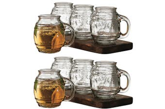 8pc Avanti 500ml Small Barrel Clear Glass Mugs Drinking Glasses Cups Jars