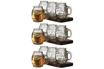 12pc Avanti 500ml Small Barrel Clear Glass Mugs Drinking Glasses Cups Jars