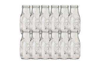 12pc Avanti Glass Milk Bottle 325ml Set Milkshake Juice Smoothie Kids Party