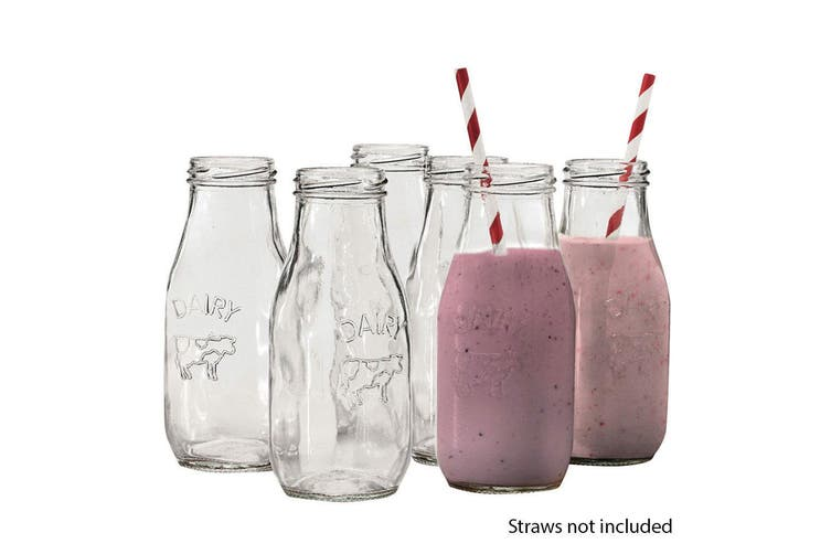 18pc Avanti Glass Milk Bottle 325ml Set Milkshake Juice Smoothie Kids Party
