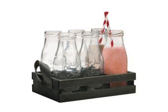 6PC 325ml Avanti 16649 Glass Milk Bottle Set w  Candy Stripe Straws Wooden Tray