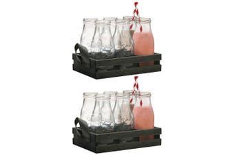 12PC 325ml Avanti 16649 Glass Milk Bottle Set w  Candy Stripe Straws Wooden Tray