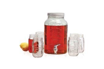 Avanti Glass Beverage Water Dispenser 5.7L Set of 6 470ml Mason Jars Party Drink