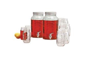 2pc Avanti Glass Beverage Water Dispenser 5.7L Set of 12 470ml Mason Jars Drinks
