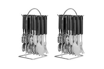48pc Avanti Hanging Stainless Steel ABS Cutlery Set w Racks Wire Frame Black