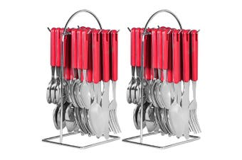 48pc Avanti Hanging Cutlery Set Stainless Steel Tea Spoon Fork Knife w  Rack Red