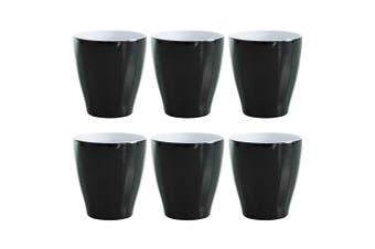 6x Avanti Boston Melamine Cup Black 300ml Coffee Tea Drink Tumbler Kids BBQ Tone