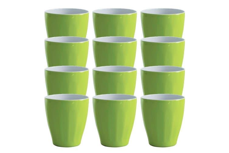12x Avanti Boston Melamine 2 Tone Cup Lime Green 300ml Coffee Tea Drink Kids BBQ