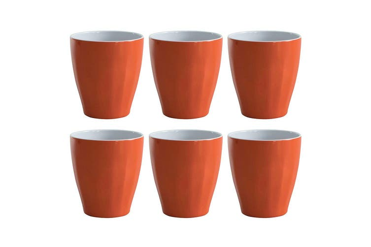 6pc Avanti Boston Melamine 2 Tone Cup Orange 300ml Coffee Tea Drink Kids BBQ