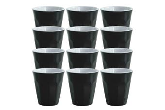 12pc Avanti Cafe Melamine Tone Cup Black 275ml Coffee Tea Drink Tumbler Kids BBQ