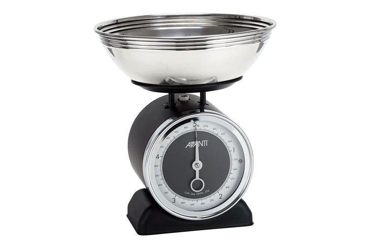 Avanti Vintage Mechanical Retro Kitchen Scale 5Kg Stainless Steel w 2L Bowl BLK