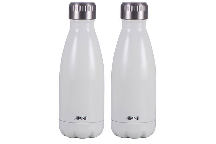 2PK Avanti 350ml Water Vacuum Thermo Bottle Stainless Steel Cold Hot Drink White